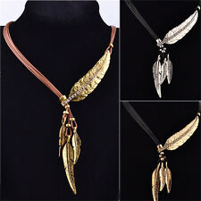 Vintage Bronze Rope Chain Feather Pendant Choker Chunky Statement Necklace Pop~~