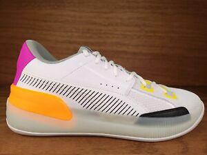 Mens Puma Clyde Hardwood Basketball Shoe Sz 12 White Orange Pink Yellow Green