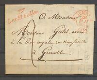 1834 Lettre Cursive Les Echelles Rouge + CAD T12 VOIRON ROUGE ISERE Sup X3406