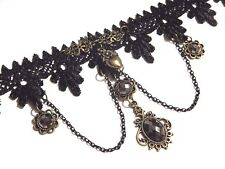 BLACK BRONZE & SILVER LACE CHOKER victorian steampunk gothic necklace band N5