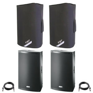 """2x FBT X-LITE 15A 15"""" 2000W Powered Active PA Speaker Disco Band +Covers +Leads"""