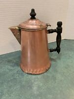 Vintage Metal Ware Copper Coffee Pot* *Black Wood Handle* Tin Lined* Hinged Top