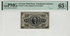 10 CENT THIRD ISSUE FRACTIONAL CURRENCY FR.1255 WASHINGTON PMG GEM UNC 65 EPQ