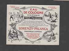 Ancienne  étiquette Parfum Eau de Cologne massage Sport Polo Vélo  Rugby Escrime