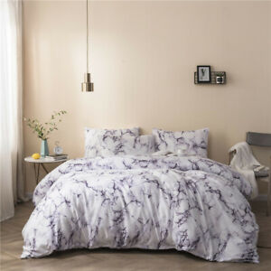 Marble Floral Duvet Cover with Pillow Case Bedding Set Art King Queen Twin