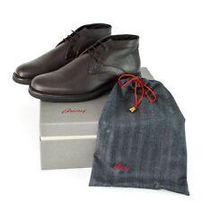 BRIONI Brown Leather Shearling Fur Chukka Boots Shoes EU 8 US 9 EEE Wide NIB