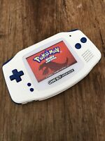 Nintendo Gameboy Advance GBA Blue White Handheld Gaming Console BACKLIT IPS V2