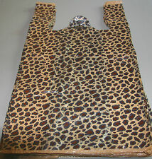 "50 LEOPARD print Plastic T-Shirt Bags w/Handles 8"" x 5"" x 16"" gift party retail"