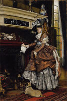 """Art Oil painting Joseph Tissot - The Fireplace young girl with her pet dog 36"""""""