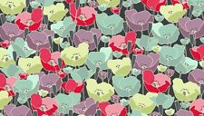 Fat Quarter Meadow Poppy Turquoise Flowers Cotton Quilting Fabric Makower
