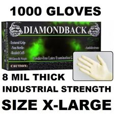DIAMOND BACK Latex Exam Gloves, Textured Grip, 8 mil, Case of 1000, Size X-LARGE
