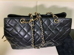 CHANEL Quilted Matelasse Lambskin Chain Shoulder Tote Bag Black
