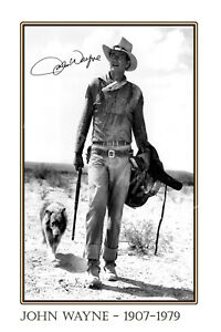 John Wayne large signed 12x18 inch photograph poster - Top Quality