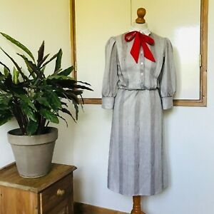 Vtg 80s Brown Stripe Print White Collar Red Pussy Bow Secretary Dress 8