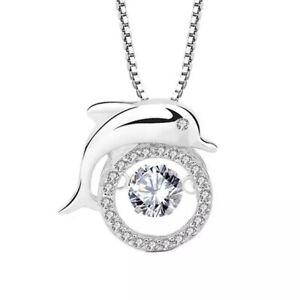 Damen Halskette Delphin Echt Silber 925 Sterling mit Zirkonia Anhänger Schmuck