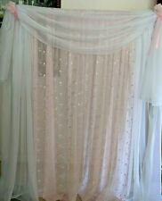 "Pink drapes embroidered Voile 110"" wide. Baby room girl party, baptism, birthday"