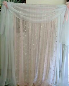 """Pink drapes embroidered Voile 110"""" wide. Baby room girl party, baptism, birthday"""