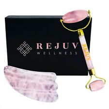 Rose Quartz Facial Roller & Gua Sha Face Roller Set | Anti Wrinkle Face Massager