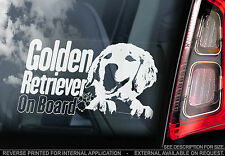 Golden Retriever - Car Window Sticker - Gun Dog on Board Sign Gift Art - TYP5