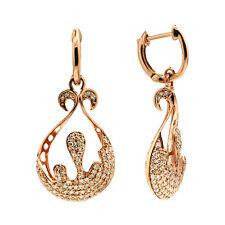 14K ROSE GOLD PAVE DIAMOND ORNATE LACE DANGLING DANGLE TEARDROP EARRINGS