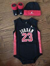 New Nike Air Jordan Baby Boy 3 Piece Set: Bodysuit, Cap, Booties, Size 0-6 M