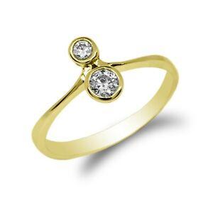 JamesJenny Women 10K/14k  Gold Vertical CZ Simple Statement Ring Size 4-10
