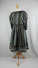 Vintage 1980s Grey & Khaki Green Striped Puff Sleeve Prairie Style Midi Dress