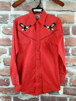 ELY CATTLEMAN DIAMOND Western Cowboy Rodeo Pearl Snap Embroidered Shirt Eagle S