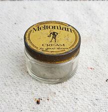 VINTAGE MELTONIAN CREAM FOR GOOD SHOES GLASS DUMPY JAR