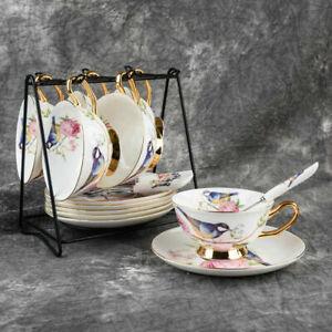 Ceramic Teacup China Tea Cup Spoon Sets British Cafe Porcelain Coffee Drinkware