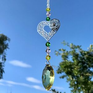 New Hanging Love Heart Sun Catcher Mobile ~ Yellow, Pink and Green Glass Beads