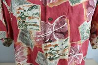 Tommy Bahama 100% Linen Short Sleeve Hawaiian Theme Shirt Size L Large
