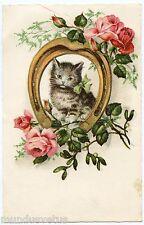 JOLI CHAT . CHATON . PORTE BONHEUR . FLEURS .ROSES . LUCKY CAT . FLOWERS .