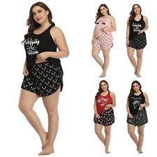 HDE Women's Plus Size Pajama Set Tank Top and Shorts Sleepwear PJ Sets