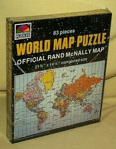 WORLD MAP PUZZLE SELCHOW RIGHTER SEALED VINTAGE 83 PC OFFICIAL RAND MCNALLY 517*