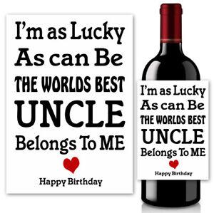 Wine Bottle Label For Uncle Dad Brother Men Him Birthday Bottle Sticker Gifts