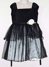 Girls Black Dress With Ivory Skirt And Flower Size 6X By George