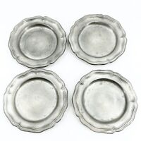 """4 VTG CCC Meriden Conn. Butter Pats Trays Cast Pewter Chippendale Style 3 3/8"""""""