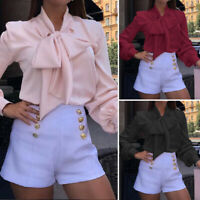 Ladies Look Satin Top Long Sleeve Tie Bow T Shirt Womens Office Blouse Plus Size