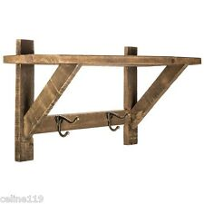 "Rustic Wood 19""W Wall Shelf with Metal Hooks Country Farmhouse Home Wall Decor"