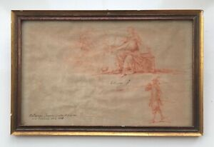 Circle of Jacques Bellange 17th Century Original Red Chalk Drawing Seated Female