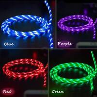 New RGB Flowing LED Glow Light USB C Type-C Data Sync Charge Charging Cable New