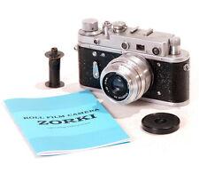 Zorki-2C USSR LEICA Rangefinder Camera Industar Lens CLA WARRANTY MANUAL EXC
