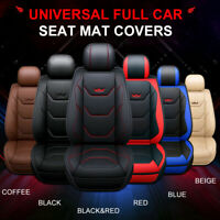 Universal PU Leather Full Car Seat Covers Mat Pad Breathable Cushion Pad Set ⇝