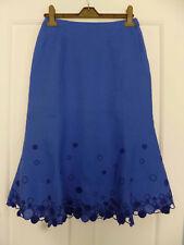 MINUET Ladies Blue Cutwork Linen Skirt Size 8