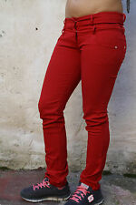 Made in Italy Trousers Ladies Red Straight leg Stretch Pants S W26 UK8 Sexy