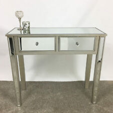 Georgia Pale Champagne Trim Mirrored Glass 2 Drawer Console Hall Dressing Table