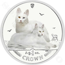 2011 Isle of Man Turkish Angora Cat Coin 1oz Silver Color Proof in Capsule + Coa