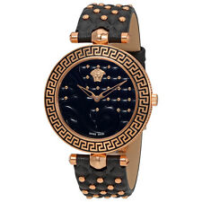 Versace Vanitas Rose Gold-tone Case Black Enamel Dial Ladies Watch VK753 0017