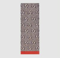 Gucci Blue/Tan/Red GG Stripe Metallic Jacquard Wool Long Winter Scarf $415